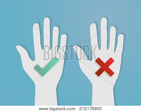 hands vote yes and no paper art style vector illustration