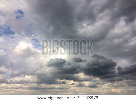 Heavy gray storm clouds in the sky