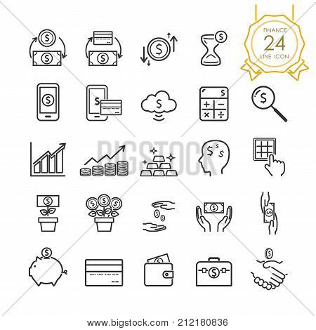 Finance line icon set elements of banknote coin credit card exchange and money in hand for website infographic or business simple symbol. Vector illustration (Editable Stroke)