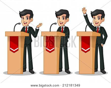 Set of businessman in black suit cartoon character design politician orator public speaker giving a talk speech presentation standing behind rostrum podium, isolated against white background.