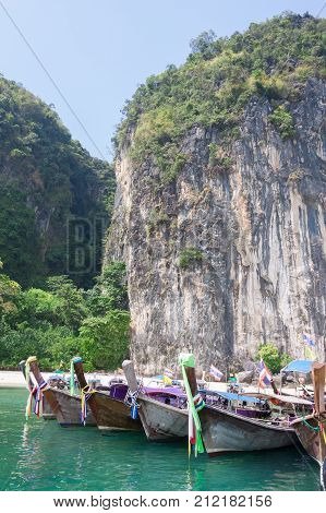 Traditional thai longtail boat at Krabi Thailand