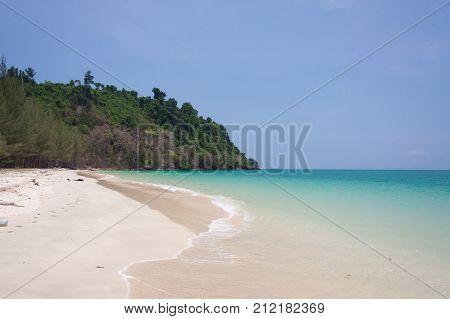 Emerald sea with white sand beach at Ranong sea Thailand