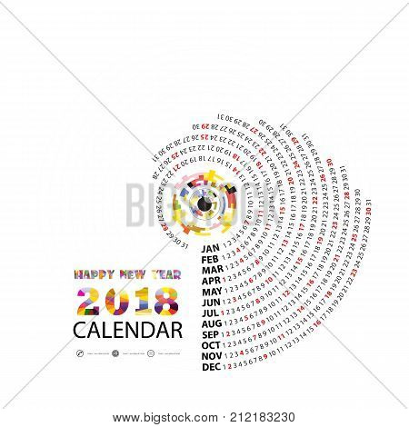 2018 Calendar Template.Calendar for 2018 year.Vector design stationery template.Flat style color vector illustration.Yearly calendar template.Calendar 2018 Set of 12 Months.