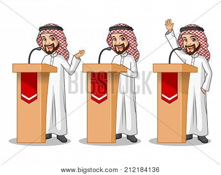 Set of businessman Saudi Arab man cartoon character design politician orator public speaker giving a talk speech presentation standing behind rostrum podium, isolated against white background.