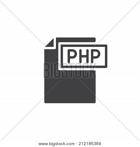 Php format document icon vector, filled flat sign, solid pictogram isolated on white. File formats symbol, logo illustration.