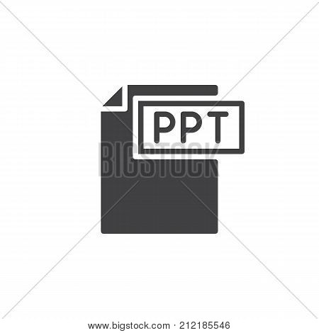 Ppt format document icon vector, filled flat sign, solid pictogram isolated on white. File formats symbol, logo illustration.