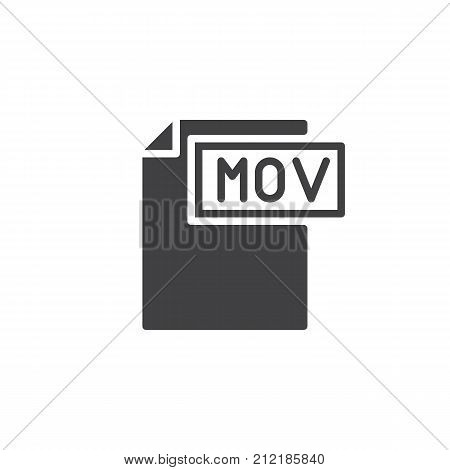 Mov format document icon vector, filled flat sign, solid pictogram isolated on white. File formats symbol, logo illustration.
