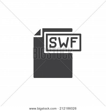 Swf format document icon vector, filled flat sign, solid pictogram isolated on white. File formats symbol, logo illustration.