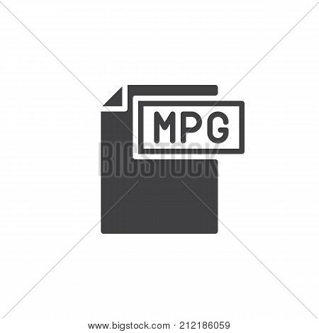 Mpg format document icon vector, filled flat sign, solid pictogram isolated on white. File formats symbol, logo illustration.