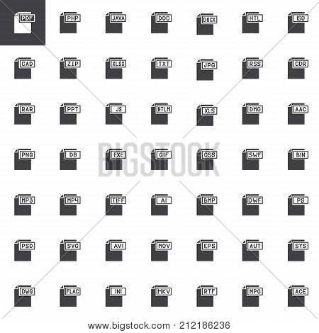 File types and document formats vector icons set, modern solid symbol collection, filled pictogram pack. Signs, logo illustration. Set includes icons as file type, pdf, java, doc, zip, txt, html