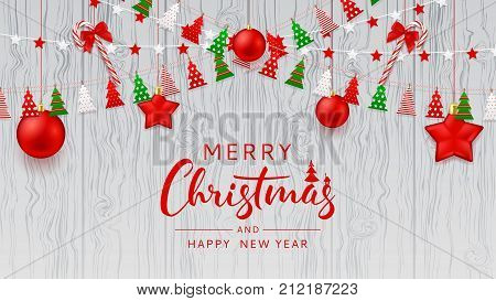 Merry Christmas Web Banner Template. Festive Decoration with Color Garlands, Xmas Balls and Candy Canes. Happy New Year Beautiful Card. Vector Illustration.