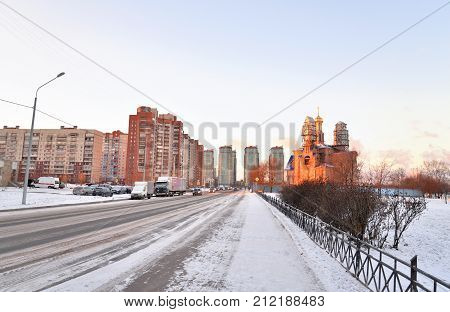 Fisherman's avenue in microdistrict Ribatskoe on the outskirts of St. Petersburg at winter Russia. poster