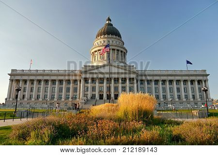 Utah State Capitol. Afternoon light. Salt Lake City, Utah USA. September 10, 2017