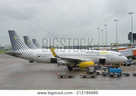 AMSTERDAM, NETHERLANDS - SEPTEMBER 30, 2017: Airbus A320-232 (EC-LVT) Vueling airlines on the Schiphol airport