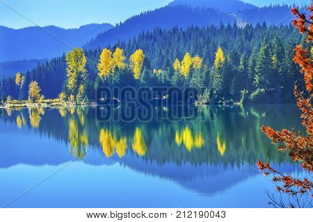 Blue Water Yellow Trees Reflection Island Gold Lake Autumn Fall Snoqualme Pass Wenatchee National Forest Wilderness Washington