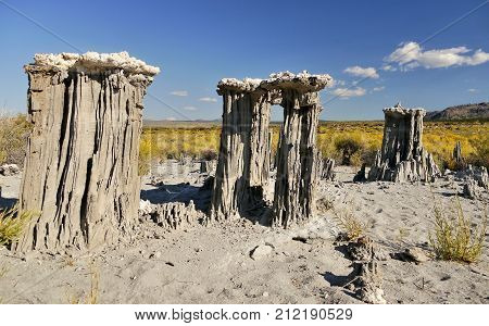 Mono Lake, California. Abstract Tufa Rock Tower In Dry Lake. Amazing Landscape.