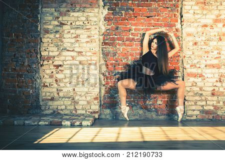 Ballerina dancing indoor, vintage. Healthy lifestyle ballet. Grace and performance of young beautiful girl. Ballet school. Stretching exercise. Lifestyle day ballerina