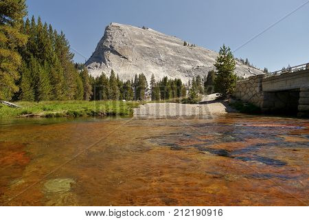River and mountains. Yosemite, Siera Nevada. California