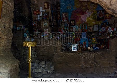 MADARA BULGARIA - AUGUST 23 2017: Saint Pantaleon Rock Chapel XII-XIV century.