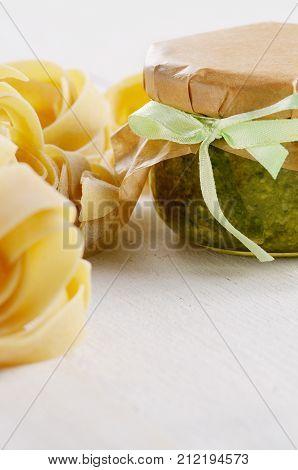 Raw Pasta And Pesto Sauce