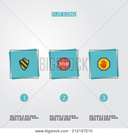 Flat Icons Forbidden, Road Sign, Shield And Other Vector Elements
