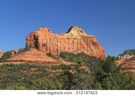 Red rock formation in Red Rock State Park along Oak Creek Canyon, a riparian habitat in Verde Valley, within Yavapai county, Sedona, Arizona, USA including Coconino National Forest.