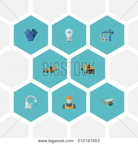 Flat Icons Tractor, Mitten, Hoisting Machine And Other Vector Elements