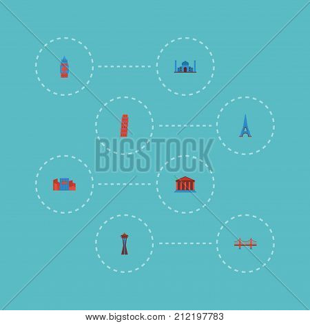 Flat Icons Paris, Seattle, Japan And Other Vector Elements