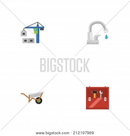 Set Of Construction Flat Icons Symbols Also Includes Toolbox, Wheelbarrow, Lifting Objects.  Flat Icons Faucet, Toolkit, Handcart Vector Elements.