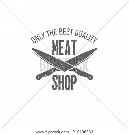 vector illustration badges on a theme, meat shop, butchery, on white background, for advertising and menu design