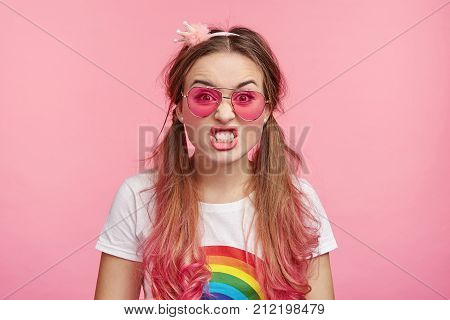 Glamour Cute Female Irritated With Boyfriend Who Betrayed Her Or Always Lies, Clenches Teeth, Can`t