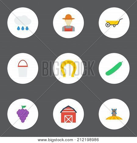 Set Of Agriculture Flat Icons Symbols Also Includes Cloud, Container, Grape Objects.  Flat Icons Agriculture, Handcart, Cloud Vector Elements.