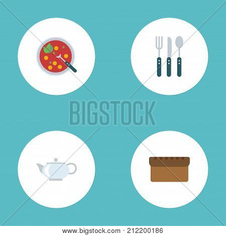 Flat Icons Loaf, Broth, Silverware And Other Vector Elements