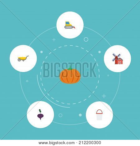 Set Of Agriculture Flat Icons Symbols Also Includes Radish, Handcart, Windmill Objects.  Flat Icons Landscape, Handcart, Bulldozer Vector Elements.