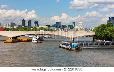 River Thames, London, England, riverside Festival Pier and Waterloo Bridge