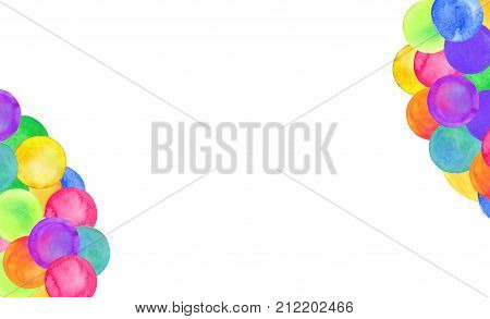 Watercolor Circle Abstract Background. Hand Drawn Polka Dot Design.