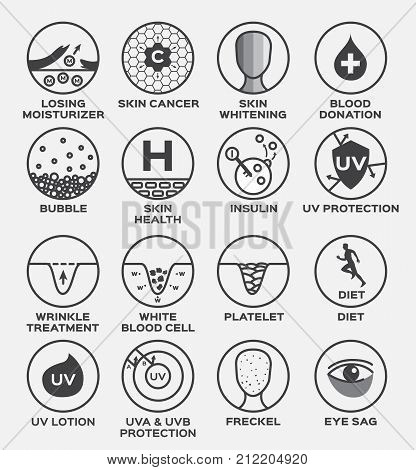 skin icon and vector / losing moisturizer cancer whitening blood donation bubble health insulin uv protection diet platelet wrinkle treatment lotion freckle eye sag
