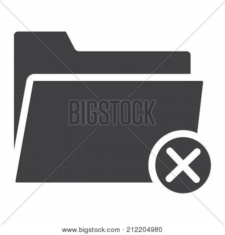 Delete folder glyph icon, web and mobile, delete file sign vector graphics, a solid pattern on a white background, eps 10.
