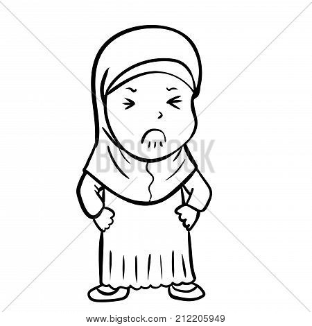 Hand drawing Frustrated Muslim Girl Cartoon Isolated on white background. Black and White simple line Vector Illustration for Coloring Book - Line Drawn Vector Illustration.