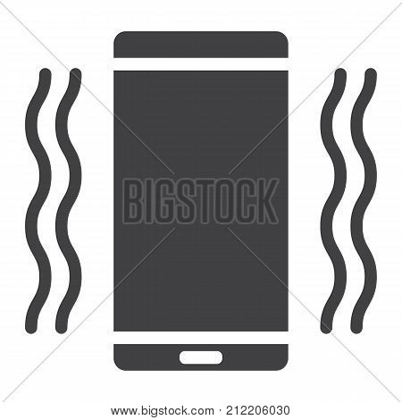 Phone vibrating glyph icon, web and mobile, call sign vector graphics, a solid pattern on a white background, eps 10.