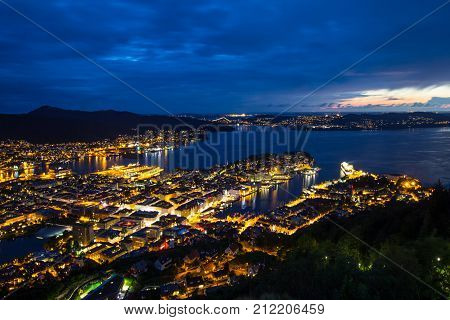 Panoramic view of Bergen from Floyen, Bergen, Norway at sunset.