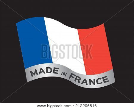 made in France icon and vector on black background