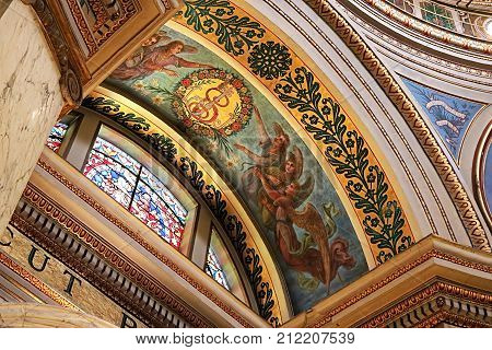 HAIFA ,ISRAEL - SEPTEMBER 18, 2017: Interior of the Stella Maris Monastery or the Monastery of Our Lady of Mount Caramel in Haifa. The monastery belongs to the Order of the Barefoot Carmelites of the 19th century located on the slopes of Mount Carmel