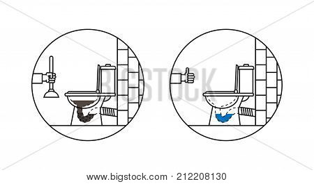 Clogged toilet bowl vector illustration. Lavatory pan line art concept with vent air-valve. Wc pan washing cleaning graphic design.