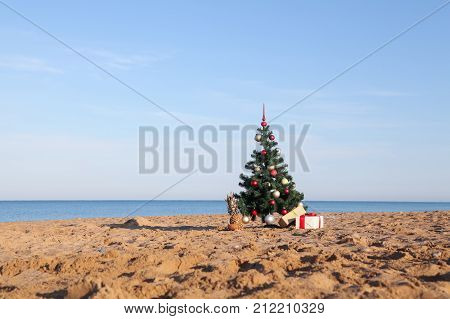 Christmas tree with the gift of tropical resort on the beach 1
