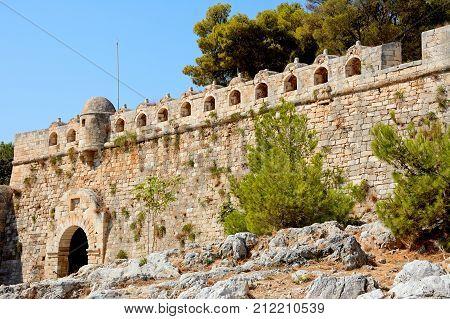 RETHYMNO, CRETE - SEPTEMBER 15, 2016 - View of the Venetian castle Rethymno Crete Greece Europe, September 15, 2016.