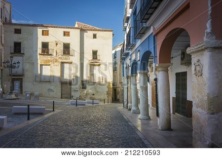Fishmongers and columns in the Market place Xativa (Jativa) Valencia Spain