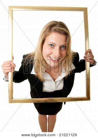 Businesswoman Pictureframe Wideangle
