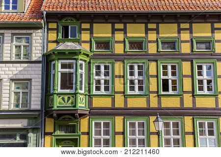 Colorful Yellow And Green Half-timbered House In Wernigerode