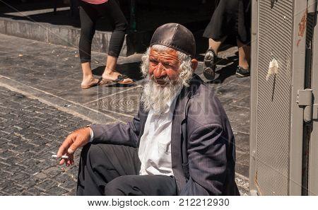 Undefined Old Beggar Orthodox Jewish Man At Mahane Yehuda Market, Jerusalem, Israel